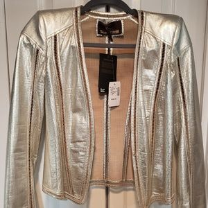 Roberto Cavalli Women's Light Gold Leather Jacket